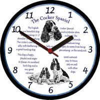 Cocker Spaniel Large Wall Clock - Dog Breed Origins Animal Facts