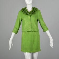 S Green Skirt Suit 1960s Matching Boxy Jacket Loop Yarn Collar Knit Mini 60s Vtg