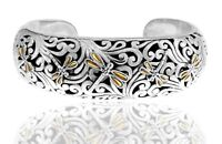 Devata Sweet Dragonfly Sterling Silver 925 Cuff Bracelet 18K Gold DBK5185 LARGE