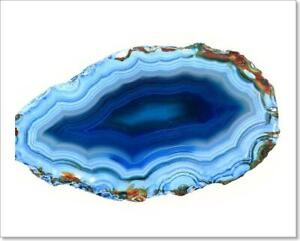 Blue Agate Isolated Art Print / Canvas Print. Poster, Wall Art, Home Decor - I