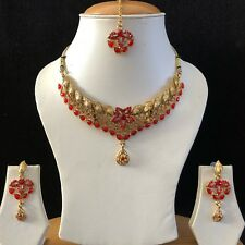 RED GOLD KUNDAN INDIAN COSTUME JEWELLERY NECKLACE EARRINGS CRYSTAL SET NEW 030