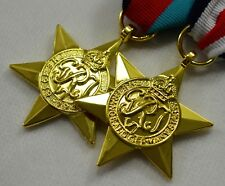 Pair of 24ct Gold WW2 Star Medals with Ribbons. 1939-1945, France/Germany Star