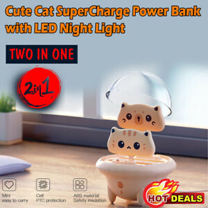 Portable Mini Power Bank Cute Cat Portable Super Power ban with LED Night Light