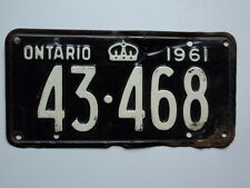 1961 ONTARIO CANADA License Plate 43 468 Can