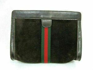 Authentic GUCCI Old Gucci Clutch Bag Suede Leather Brown 90483