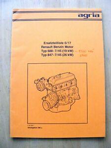Renault Motor 688  847  Ersatzteilliste Agria 9300 6900 ETL Teileliste Benziner
