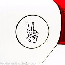 "GAS - Skeleton Hand Peace Sign - Car Gas Cap Vinyl Decal ©YYDC(2""w x3.25""h)BLACK"