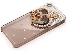 Crown Rhinestone Simulated Pearl Back Case Sink for Apple iPhone 5/5S