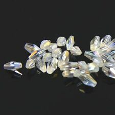 40pcs Swaro-element  4x8mm Long Bicone Crystal bead Clear AB