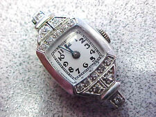 Art Deco Mechanical Needs Cord Band Woman's Platinum & Diamond Watch Head