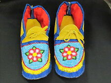 NATIVE AMERICAN FULL BEAD MOCCASINS  11 INCHES LONG MESMERIC SHIMMIRING FLOWER