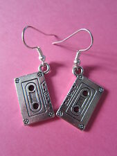 Silver Plated Cassette Tape Earrings Kitsch New Rock Retro Music