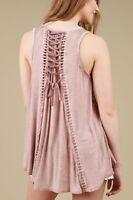 POL Boho Bohemian Sleeveless smock babydoll lace-up back Top Dusty pink S M L