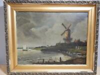 Antique Dutch Painting Oil on Canvas-Windmill & Waterfront- K. Otto -26 x 21 1/2