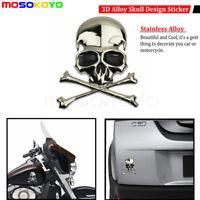 Auto Car Trunk Motorcycle 3D Alloy Skull Cross Bone Sticker Emblem Badge Decal