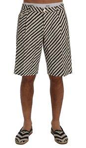 NEW DOLCE & GABBANA Shorts White Black Striped Hemp Casual s. IT44 / W30