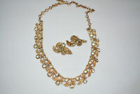 Vintage CORO Necklace & Clip On Earrings Set, Antique Leaf Leaves