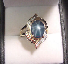 GENUINE NATURAL BLUE STAR SAPPHIRE 3.91 CTS with DIAMONDS 14K GOLD RING