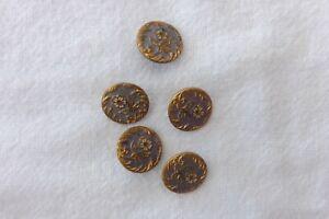 FIVE ANTIQUE FRENCH ENAMEL BUTTONS  ART NOUVEAU FLOWERS 1.25cm (790)