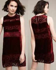 ANTHROPOLOGIE NWT Talya Velvet Shift Dress Wine Burgundy Lace Detail Sz XS $188