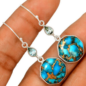 Copper Blue Turquoise & Blue Topaz 925 Sterling Silver Earring Jewelry BE48754