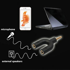 2Pcs 3.5mm Earphone Stereo Audio Jack Plug Headphone 2 Way U Splitter Adapter