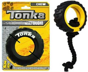 TONKA Dog Toys TOUGHEST Real Tyres for Power Chewers Rope Tugging Feeders Rings