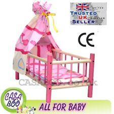 More details for large wooden toy bed cot for dolls with bedding canopy preschool girl's toy new