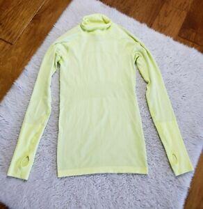 Lululemon Run Swiftly Tech Long Sleeve Shirt Neon Yellow Thumb Holes Size 4