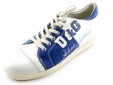 NEW White Blue DOLCE & GABBANA D & G Leather Fashion Sneakers 42 EU 10 US Italy