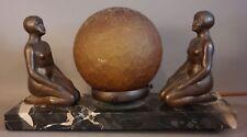 Antique ART DECO Era BRONZED Spelter NUDE LADY STATUE Figural RADIO Marble LAMP