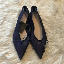 Zara Women Shoes Sz 8 Purple Lace Pointy Toe Flats