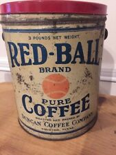 Antique Red Ball Brand Baseball Coffee Can Duncan Company 3lb Tin Houston Texas