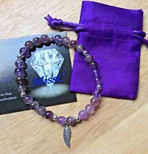 AMETHYST BRACELET WITH UK 925 STERLING SILVER ANGEL WING CHARM