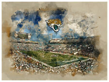 "Jacksonville Jaguars Poster Watercolor Art Print Man Cave Decor 12x16"""
