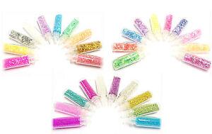 30 x Fläschen Nailart Glitter Fäden Mini Perlen Glitzer Crushed Ice Folie