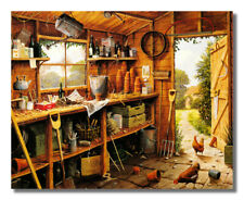Country Tool Shed Chicken Pots Wall Picture Art Print