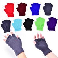 Femmes hommes gants demi-doigts doux hiver mitaines tricotées doi  *BB