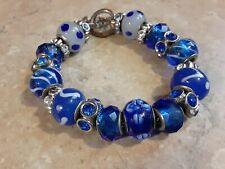 Womens Handmade Silver Plated Beaded Blue Wheel Charm Bracelet Fashion Jewelry
