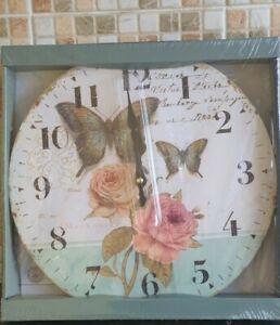 Auriol Vintage Wall Clock - Butterflies - & Roses  pattern Brand New