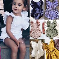 Newborn Baby Girl Solid Color Romper Ruffle Cotton Jumpsuit Outfit Sunsuit 0-24M