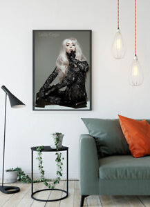 Lady Gaga Singer Popstar Fashion Print Glossy Canvas Wall Poster Home Size A4