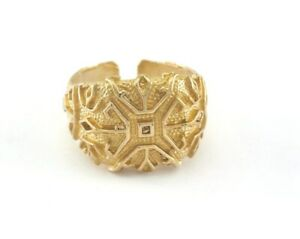 Signet Ring Adjustable Raw brass (21mm 11US inner size) 2714 Ring26