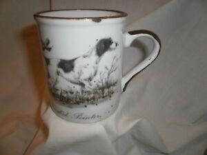 Vintage Otagiri hunting dog White Speckled Stoneware 7 1/2oz. Coffee tea Mug Cup