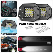 Car SUV 2x 120W Super Bright White IP 68 CREE LED LIGHT BAR Embedded Mount Lamps