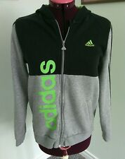 Adidas Women's Black Gray Jacket Hooded Top Size S Hoodies Zip Up Youth L Fit