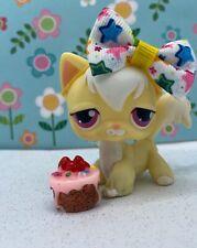 Authentic Littlest Pet Shop # 364 Yellow White Long Hair Angora Cat Maroon Eyes