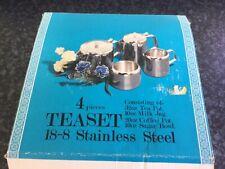 More details for vintage original boxed stainless steel 4 piece teaset tea set