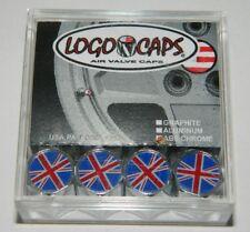 New listing New British Flag Logo Emblem Set of 4 Chrome Tire Valve Stem Caps Usa Seller