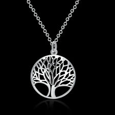 Fashion Charm 925 Silver Tree Necklaces Pendants Chain Wedding Jewelry For Women